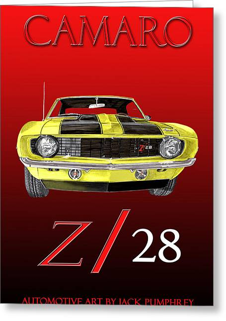 Pen And Ink Framed Prints Greeting Cards - 1969 Camaro Z 28  Greeting Card by Jack Pumphrey