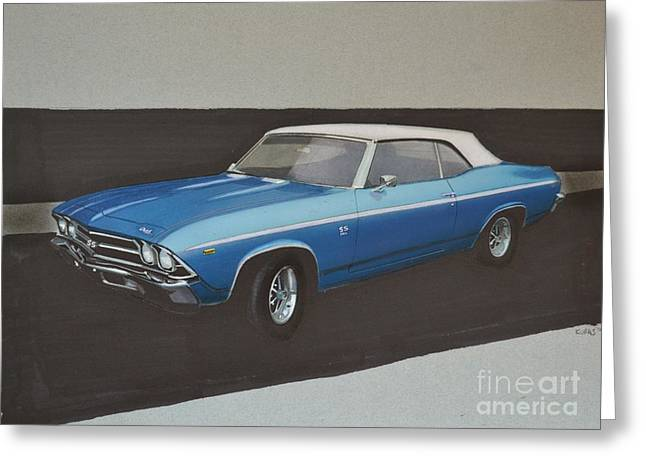 Exhaust Drawings Greeting Cards - 1969 Chevelle Greeting Card by Paul Kuras