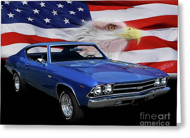 Blue Car. Greeting Cards - 1969 Chevelle Tribute Greeting Card by Peter Piatt
