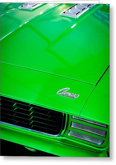 Chevrolet Camaro 396 Greeting Cards - 1969 Chevrolet Camaro 396 RS SS L89 Hood Emblem Greeting Card by Jill Reger