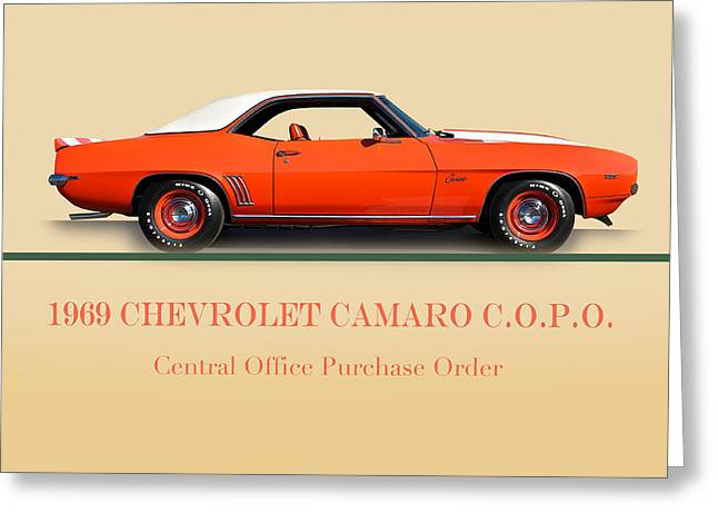 American Automobiles Greeting Cards - 1969 Chevrolet Camaro COPO with ID Greeting Card by Dave Koontz
