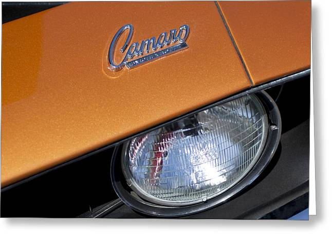 1969 Greeting Cards - 1969 Chevrolet Camaro Headlight Emblem Greeting Card by Jill Reger