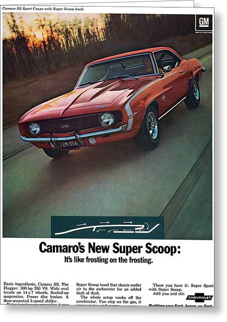 Frosting Digital Greeting Cards - 1969 Chevrolet Camaro New Super Scoop Greeting Card by Digital Repro Depot