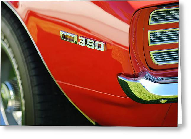 Rally Greeting Cards - 1969 Chevrolet Camaro Rally Sport 350 Emblem Greeting Card by Jill Reger