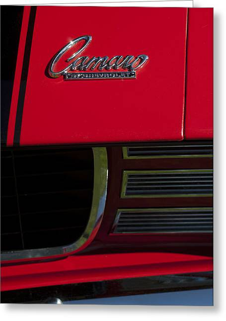 Rally Greeting Cards - 1969 Chevrolet Camaro Rally Sport Emblem Greeting Card by Jill Reger