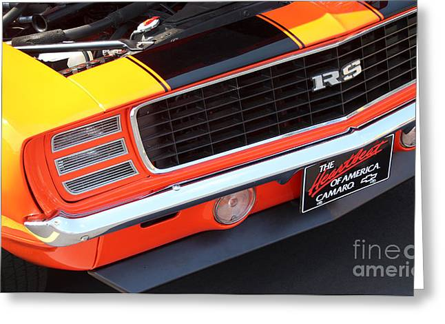 Rally Greeting Cards - 1969 Chevrolet Camaro RS - Orange - Front End 7550 Greeting Card by Gary Gingrich Galleries