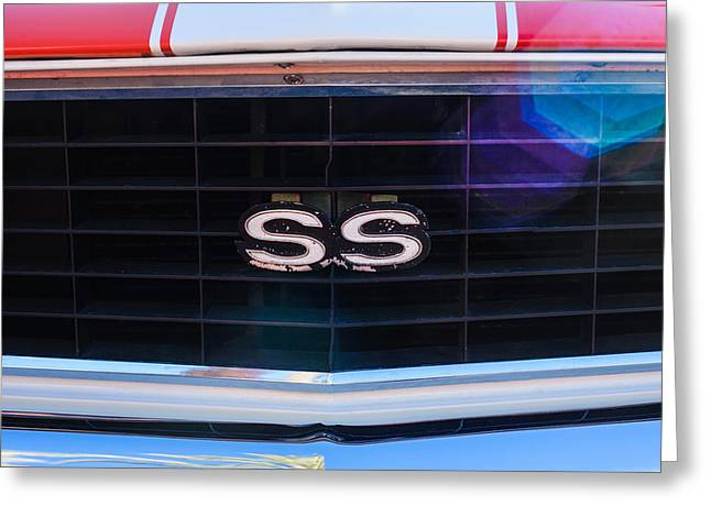 Indy Car Greeting Cards - 1969 Chevrolet Camaro RS-SS Indy Pace Car Replica Grille Emblem Greeting Card by Jill Reger