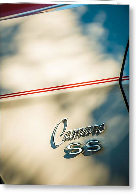 1969 Chevrolet Camaro Rs-ss Indy Pace Car Replica Side Emblem Greeting Card by Jill Reger