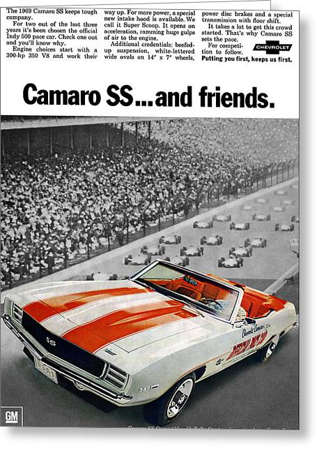 Recently Sold -  - Indy Car Greeting Cards - 1969 Chevrolet Camaro SS Indy 500 Pace Car Ad Greeting Card by Digital Repro Depot