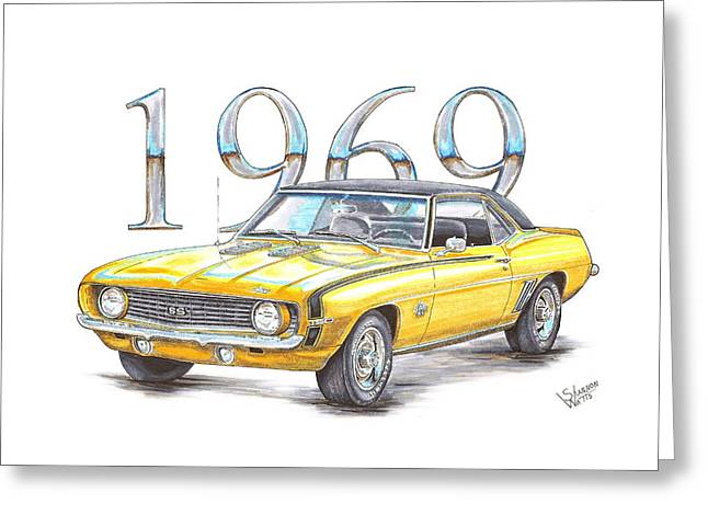 Big Block Greeting Cards - 1969 Chevrolet Camaro Super Sport Greeting Card by Shannon Watts