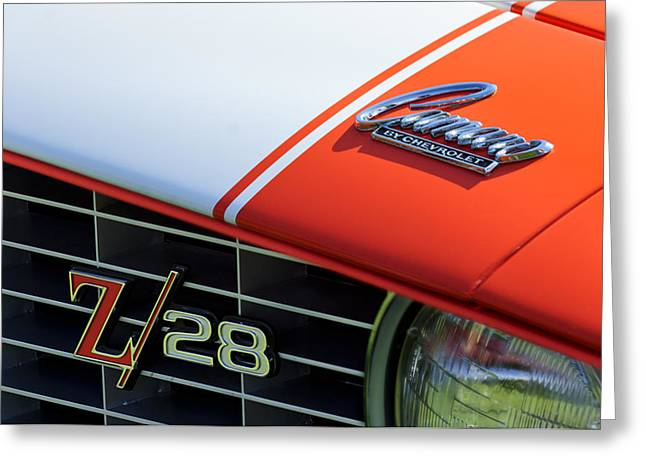 1969 Greeting Cards - 1969 Chevrolet Camaro Z-28 Emblem Greeting Card by Jill Reger