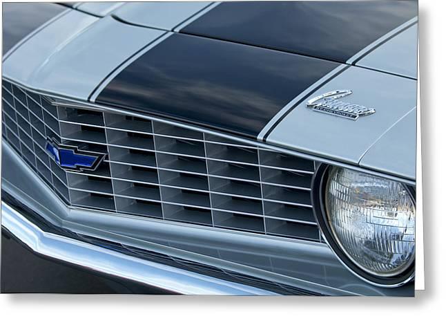 1969 Chevrolet Camaro Z 28 Grille Emblem Greeting Card by Jill Reger