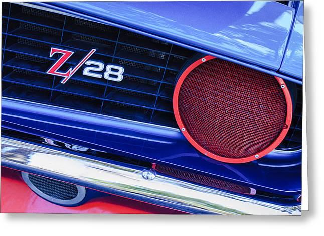 1969 Chevrolet Camaro Z28 Grille Emblem Greeting Card by Jill Reger