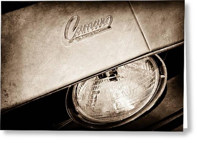 1959 Chevrolet Greeting Cards - 1969 Chevrolet Camero Head Light Emblem Greeting Card by Jill Reger