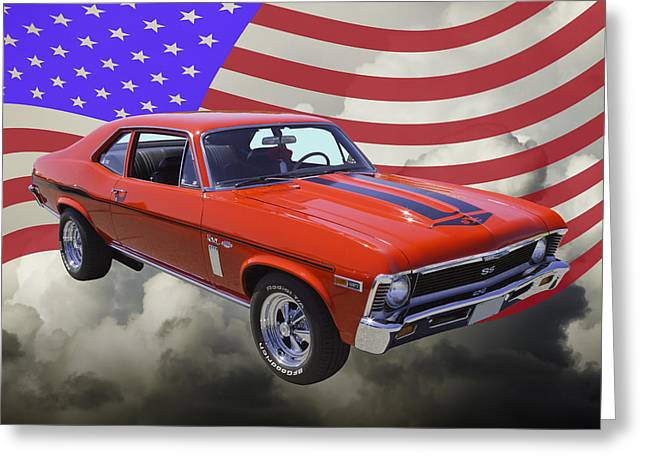 Super Stars Greeting Cards - 1969 Chevrolet Nova Yenko 427 With American Flag Greeting Card by Keith Webber Jr