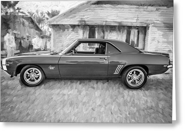 Chevrolet Camaro 396 Greeting Cards - 1969 Chevy Camaro RS 396 Painted BW Greeting Card by Rich Franco