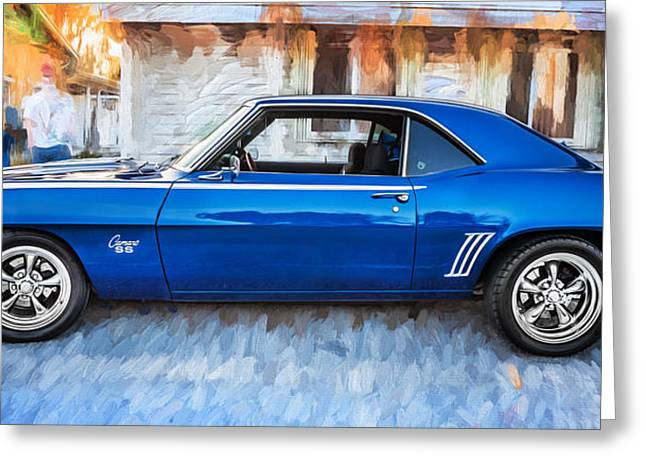 Chevrolet Camaro 396 Greeting Cards - 1969 Chevy Camaro RS 396 Painted  Greeting Card by Rich Franco
