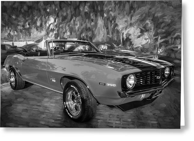 Detroit Cars Greeting Cards - 1969 Chevy Camaro SS 350 Painted BW  Greeting Card by Rich Franco