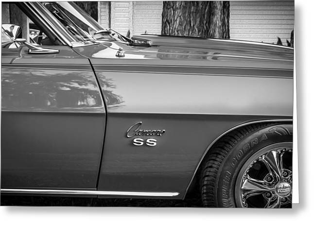 Chevrolet Camaro 396 Greeting Cards - 1969 Chevy Camaro SS 396 Painted BW Greeting Card by Rich Franco