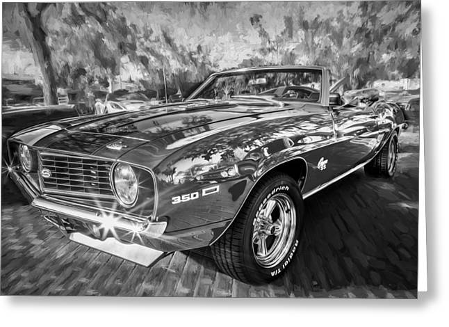 Detroit Cars Greeting Cards - 1969 Chevy Camaro SS Painted BW  Greeting Card by Rich Franco