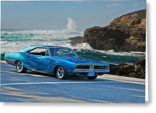 Rally Greeting Cards - 1969 Dodge Charger RT at Oceanside Greeting Card by Dave Koontz