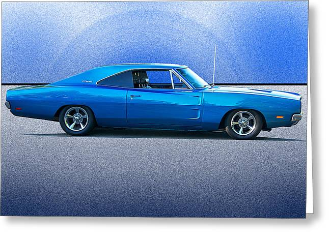 American Automobiles Greeting Cards - 1969 Dodge Charger RT Flexing Muscle Greeting Card by Dave Koontz