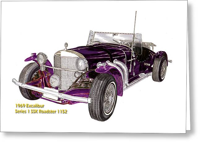 Drag Mixed Media Greeting Cards - 1969 Excalibur SS Roadster Greeting Card by Jack Pumphrey