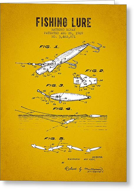 Tackle Greeting Cards - 1969 Fishing Lure Patent 02 - Yellow Brown Greeting Card by Aged Pixel