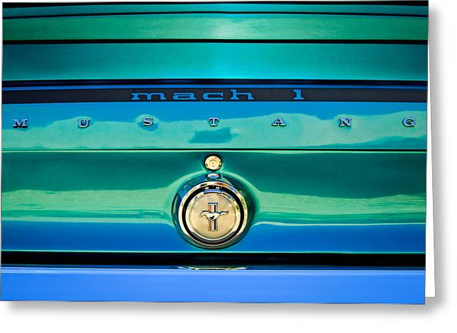 Mach 1 Greeting Cards - 1969 Ford Mustang Mach 1 Rear Emblem Greeting Card by Jill Reger