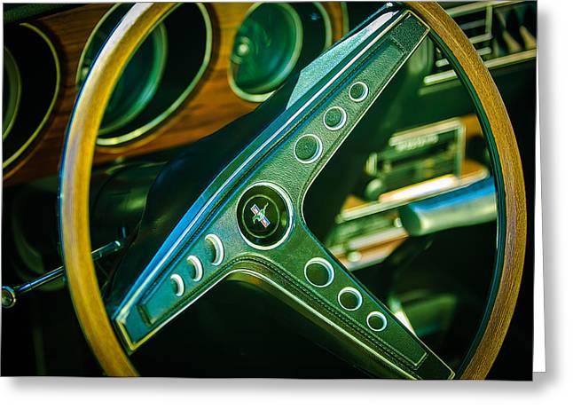 Mach 1 Greeting Cards - 1969 Ford Mustang Mach 1 Steering Wheel Emblem Greeting Card by Jill Reger