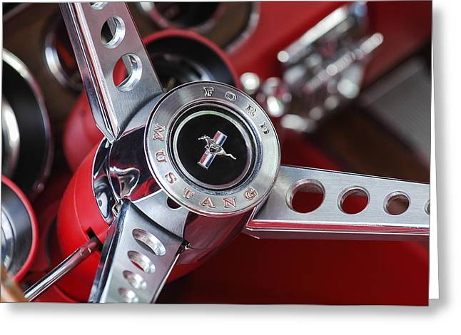 Old Automobile Greeting Cards - 1969 Ford Mustang Mach 1 Steering Wheel Greeting Card by Jill Reger