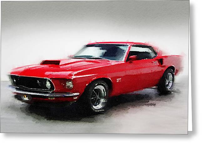 1969 Greeting Cards - 1969 Ford Mustang Watercolor Greeting Card by Naxart Studio