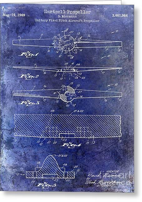 Propeller Airplane Greeting Cards - 1969 Hartzell Propeller Patent Blue Greeting Card by Jon Neidert