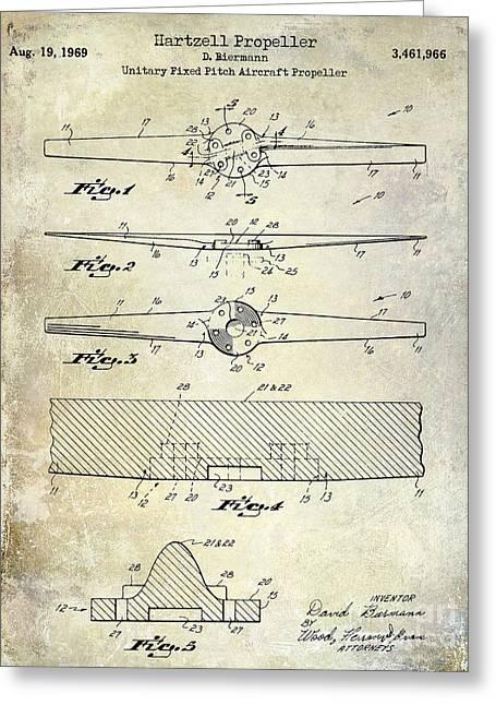 Propeller Airplane Greeting Cards - 1969 Hartzell Propeller Patent Greeting Card by Jon Neidert