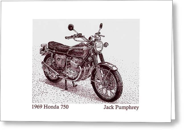 Pen And Ink Framed Prints Greeting Cards - 1969 Honda 750 Greeting Card by Jack Pumphrey