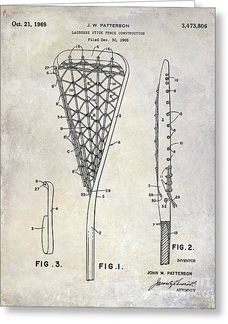 Racquet Photographs Greeting Cards - 1969 Lacrosse Stick Patent Drawing Greeting Card by Jon Neidert