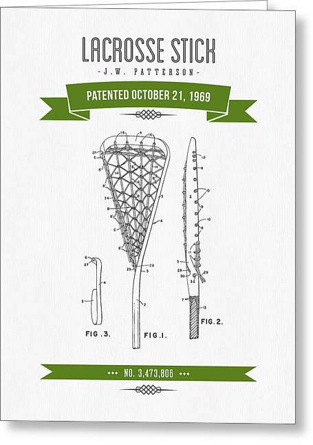 League Mixed Media Greeting Cards - 1969 Lacrosse Stick Patent Drawing - Retro Green Greeting Card by Aged Pixel