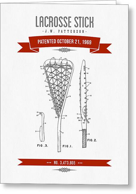 League Mixed Media Greeting Cards - 1969 Lacrosse Stick Patent Drawing - Retro Red Greeting Card by Aged Pixel