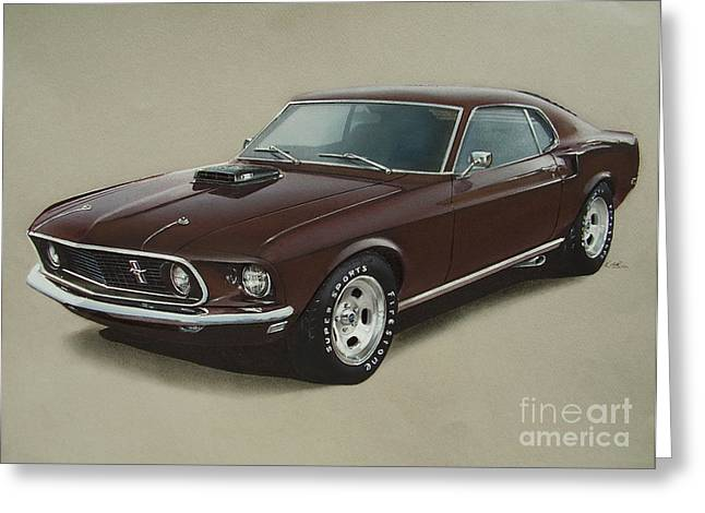 Ford Mustang Drawings Greeting Cards - 1969 Mustang Fastback Greeting Card by Paul Kuras
