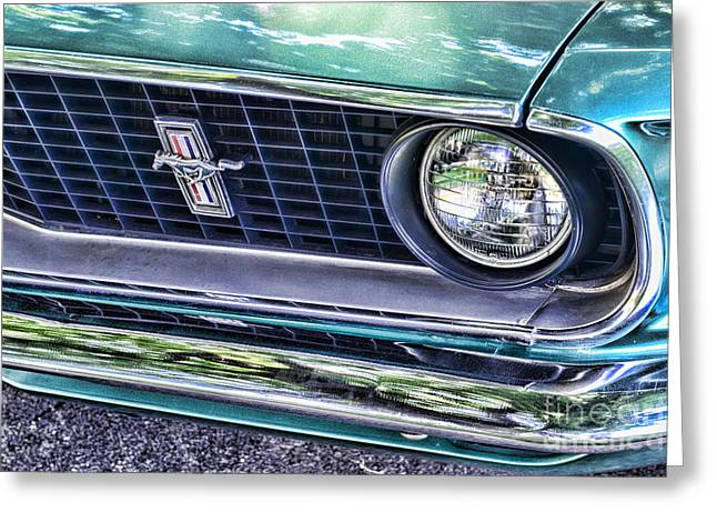 Dealership Greeting Cards - 1969 Mustang Mach 1 Grill Greeting Card by Paul Ward