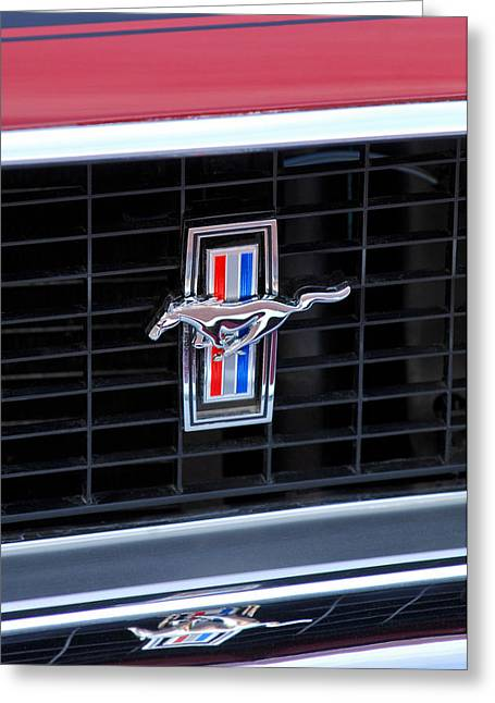 Collector Hood Ornament Greeting Cards - 1969 Mustang Mach 1 Grille Emblem Greeting Card by Jill Reger