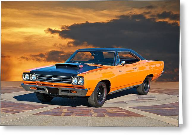 Rally Greeting Cards - 1969 Plymouth 440 6BL Roadrunner Greeting Card by Dave Koontz