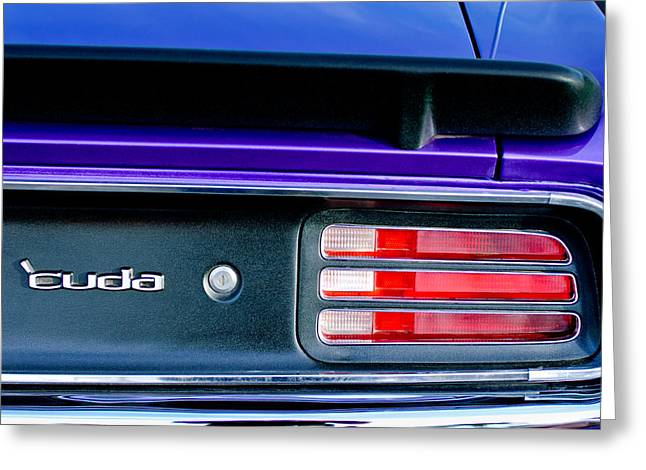 Cuda Greeting Cards - 1969 Plymouth Barracuda - Cuda Emblem - Taillight Greeting Card by Jill Reger