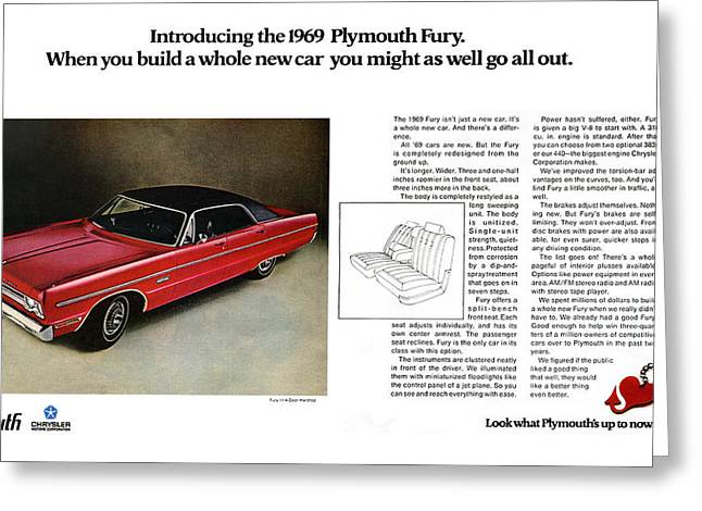 Keychain Greeting Cards - 1969 Plymouth Fury Greeting Card by Digital Repro Depot