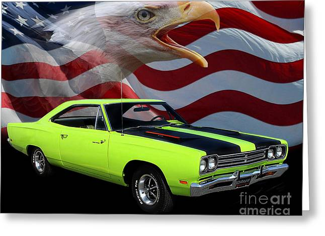 Tribute Art Greeting Cards - 1969 Plymouth Road Runner Tribute Greeting Card by Peter Piatt
