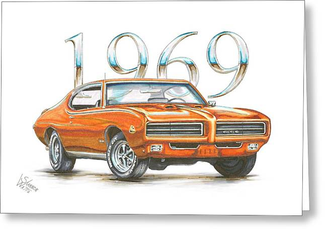 Pontiac Gto Greeting Cards - 1969 Pontiac GTO Judge Greeting Card by Shannon Watts