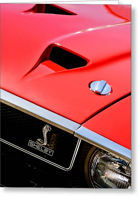1969 Greeting Cards - 1969 Shelby GT500 Convertible 428 Cobra Jet Hood - Grille Emblem Greeting Card by Jill Reger