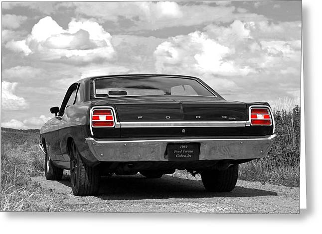 Suburban Posters Greeting Cards - 1969 Torino Cobra Jet on a Country Road Greeting Card by Gill Billington
