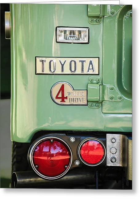 Cruiser Greeting Cards - 1969 Toyota FJ-40 Land Cruiser Taillight Emblem -0417c Greeting Card by Jill Reger