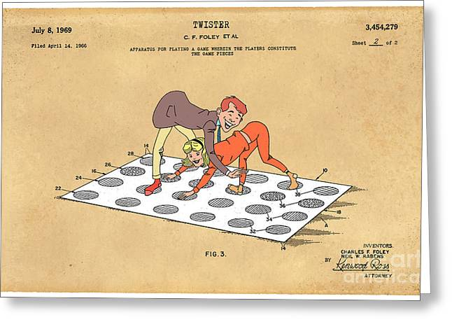 Historic Home Drawings Greeting Cards - 1969 Twister Patent Art 1 Greeting Card by Nishanth Gopinathan
